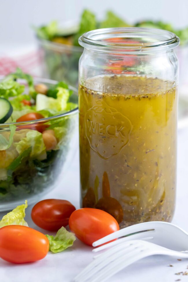 glass jar of Italian dressing