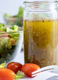 glass jar of Italian salad dressing