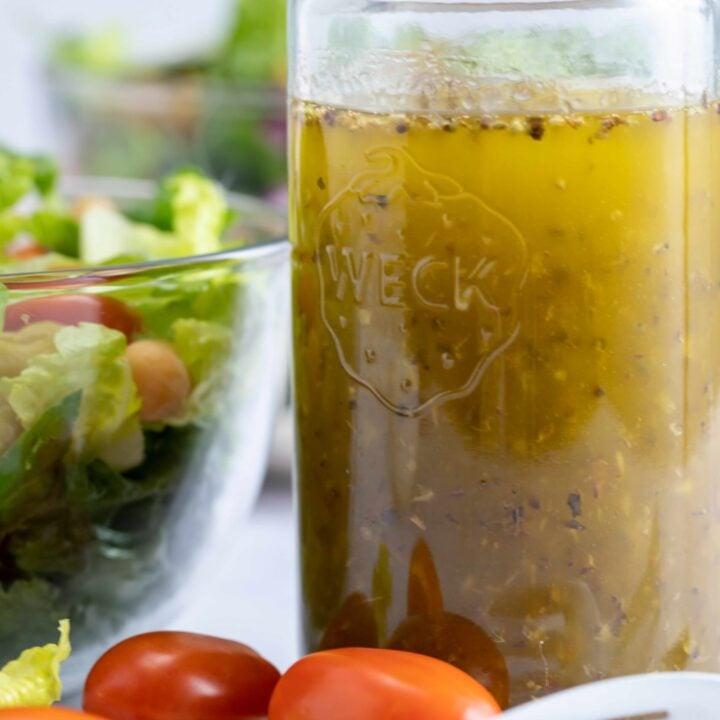 glass jar of Italian salad dressing