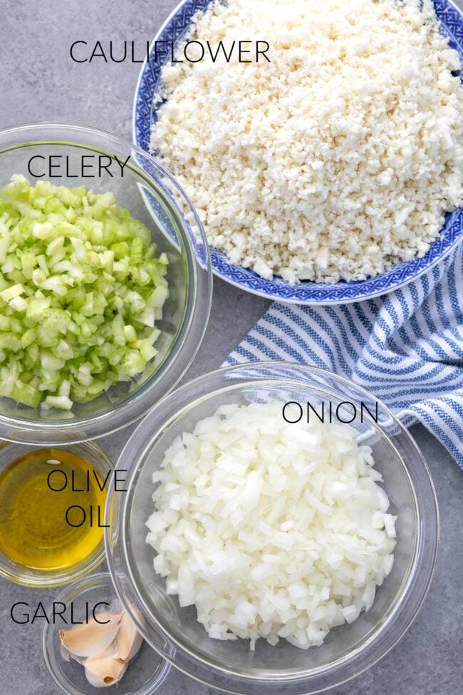bowls of cut vegetables