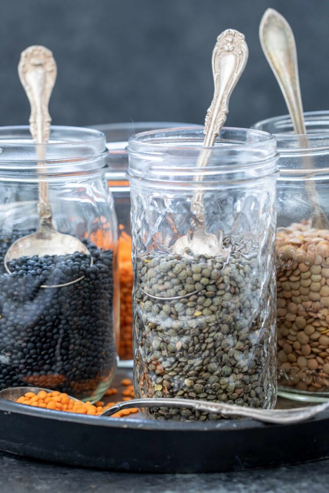 jars of dried lentils