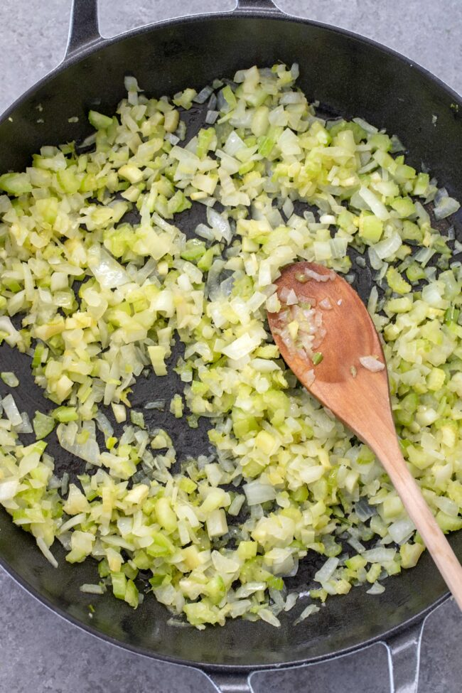 pan of onion and celery