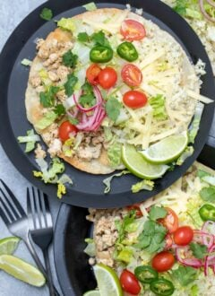 plate with ground chicken tostadas