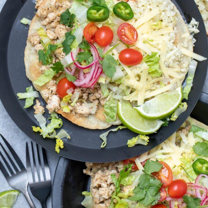 plate with ground chicken tostadas