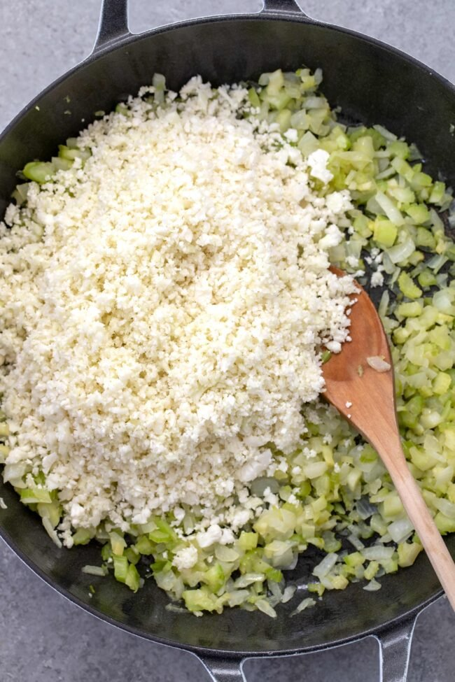 pan of cooked onion and celery