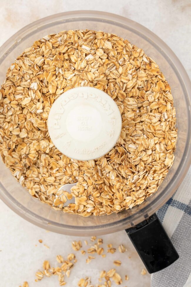 food processor filled with old fashioned oats