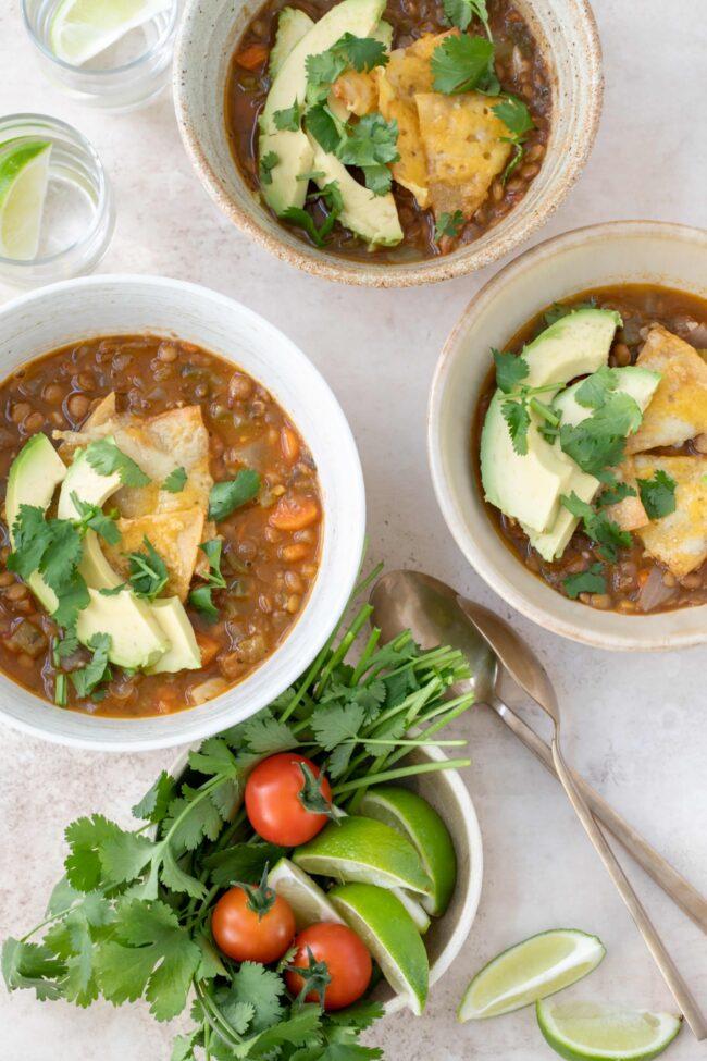 bowls of sopa de lentejas