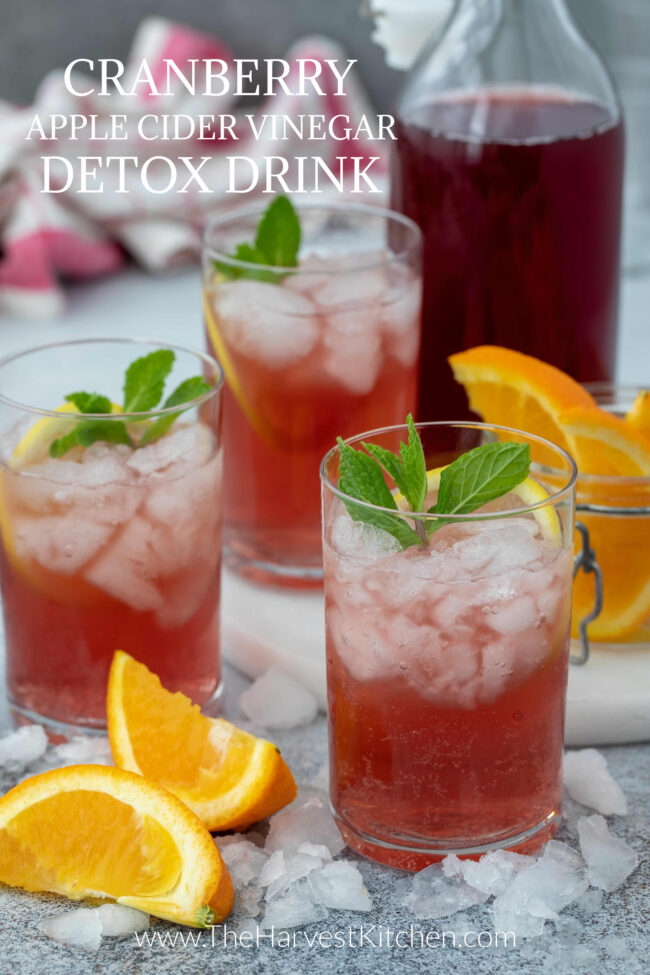 glasses filled with cranberry juice and ice