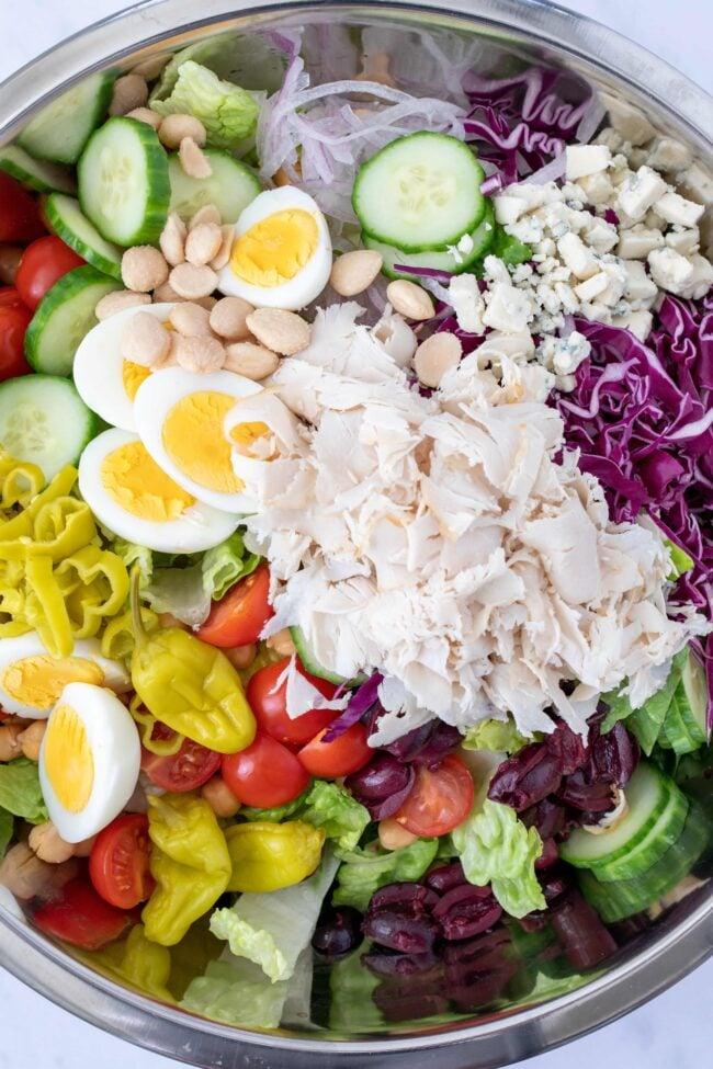 bowl of chef salad ingredients