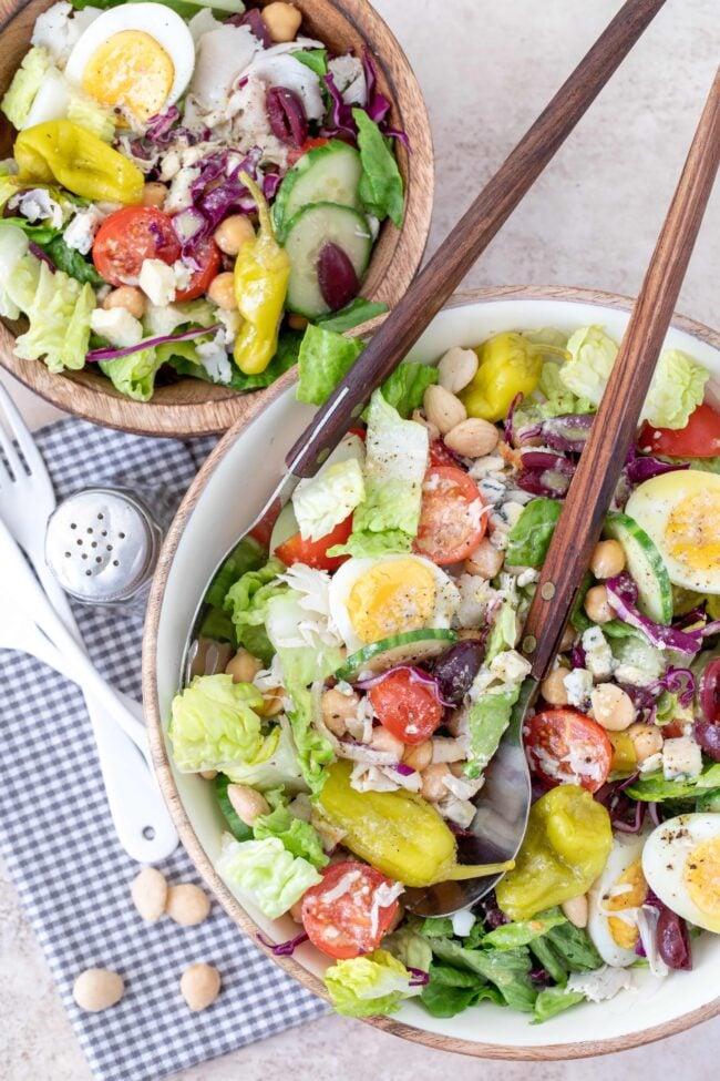 bowls of tossed salad