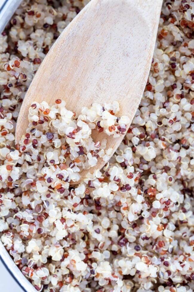 pot of cooked quinoa for easy quinoa recipes