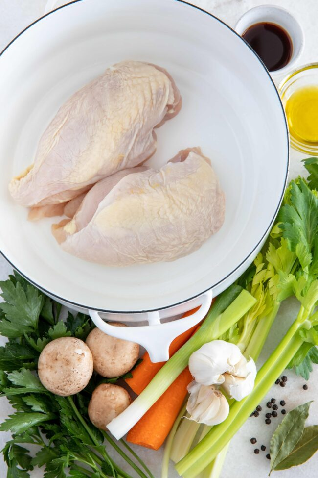 pot of boneless chicken breasts