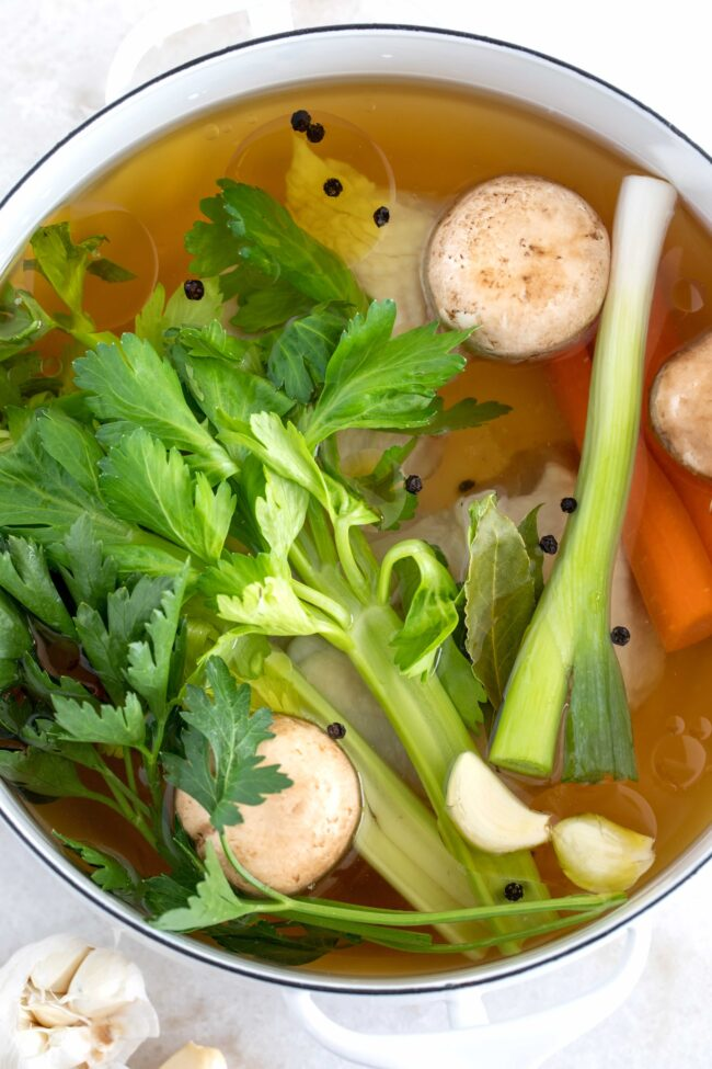 pot of vegetables in broth