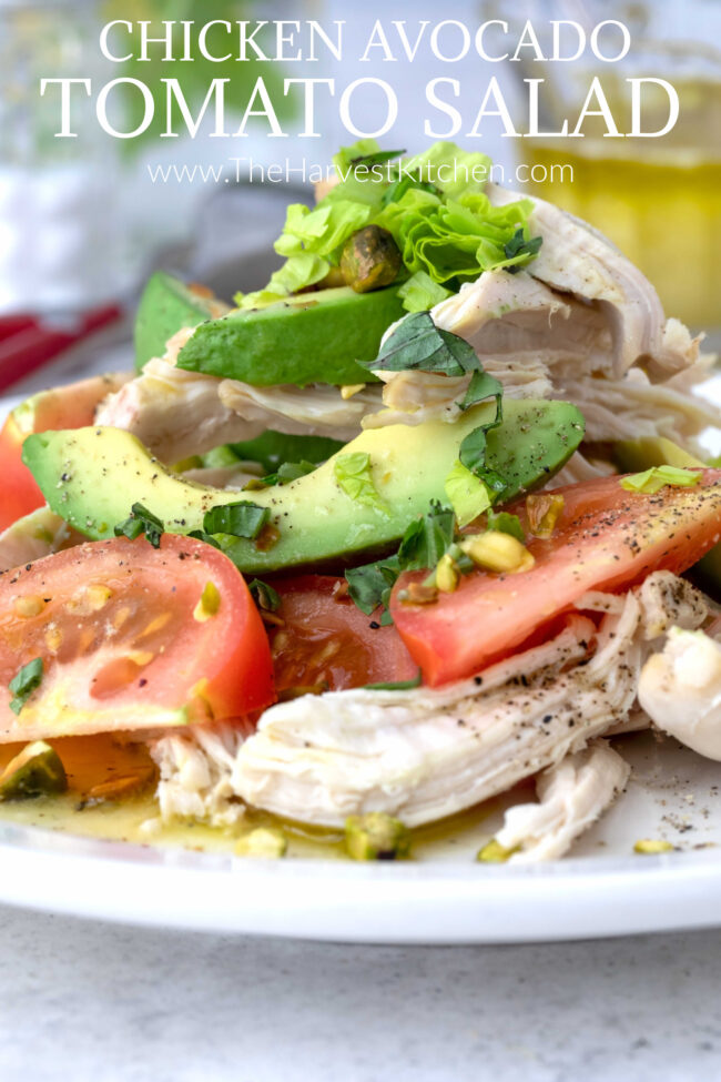 plate of avocado tomato salad with chicken