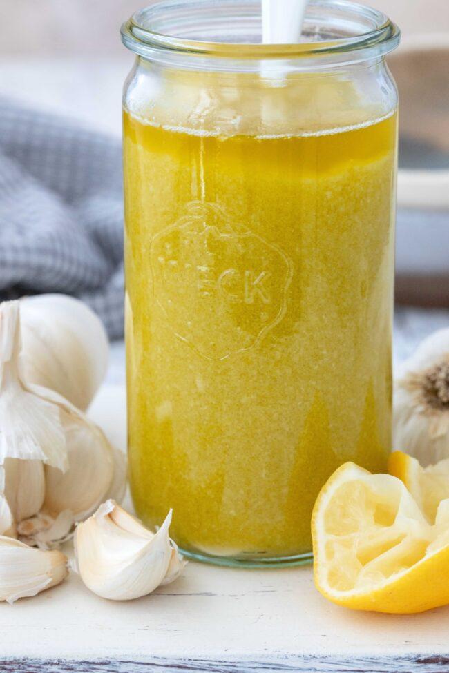 jar of garlic infused oil