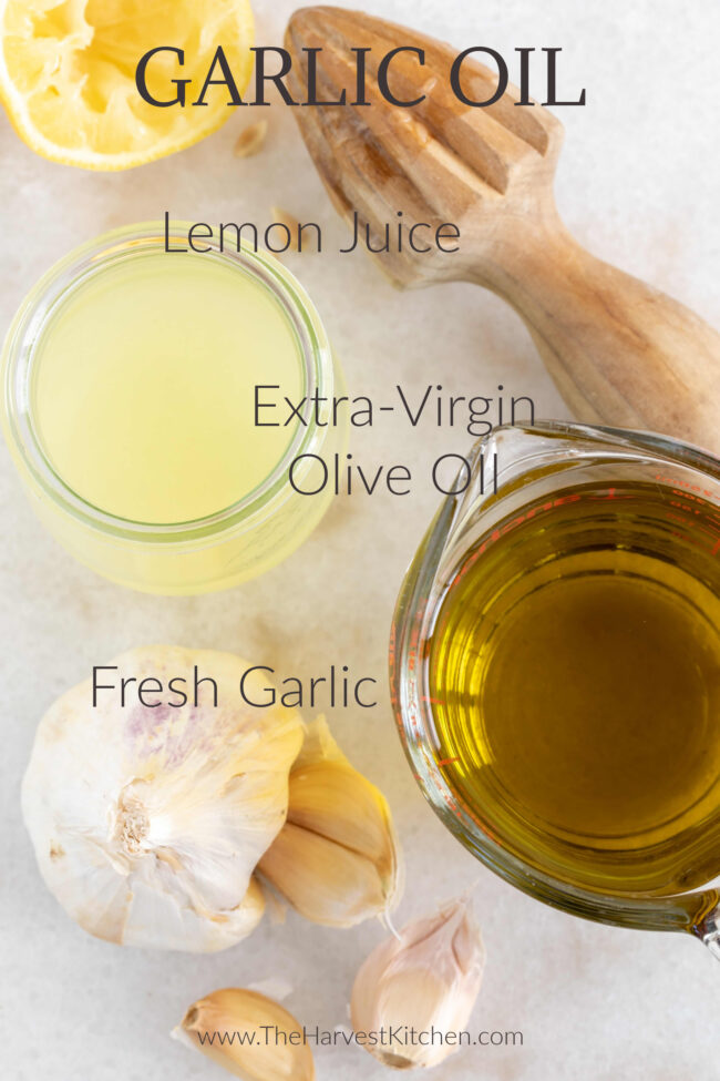 ingredients for garlic infused olive oil
