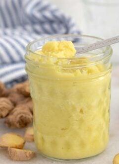 jar filled with ginger paste
