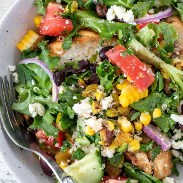 bowl of grilled chicken salad