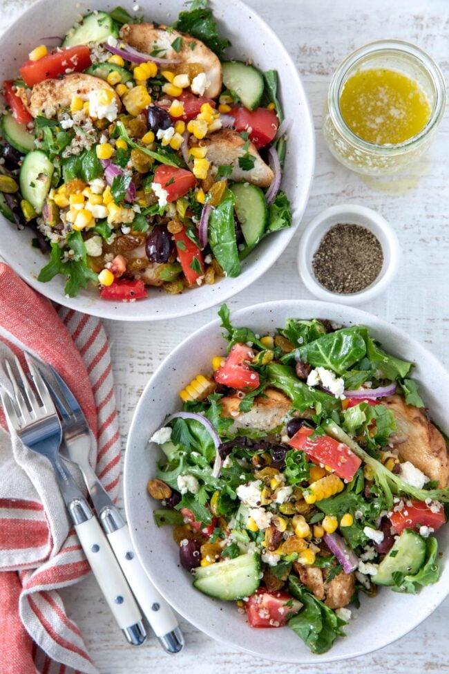 bowls of Mediterranean chicken salad