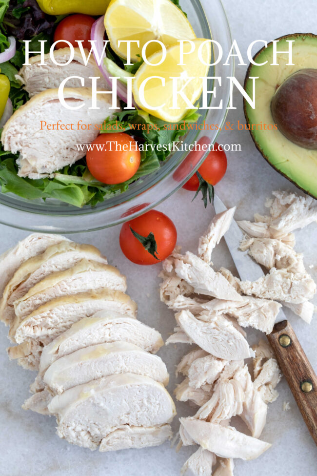 sliced pieces of poached chicken breast