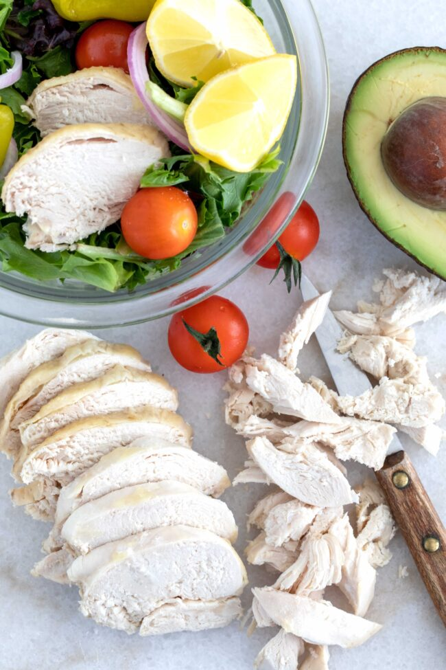 sliced and shredded poached chicken