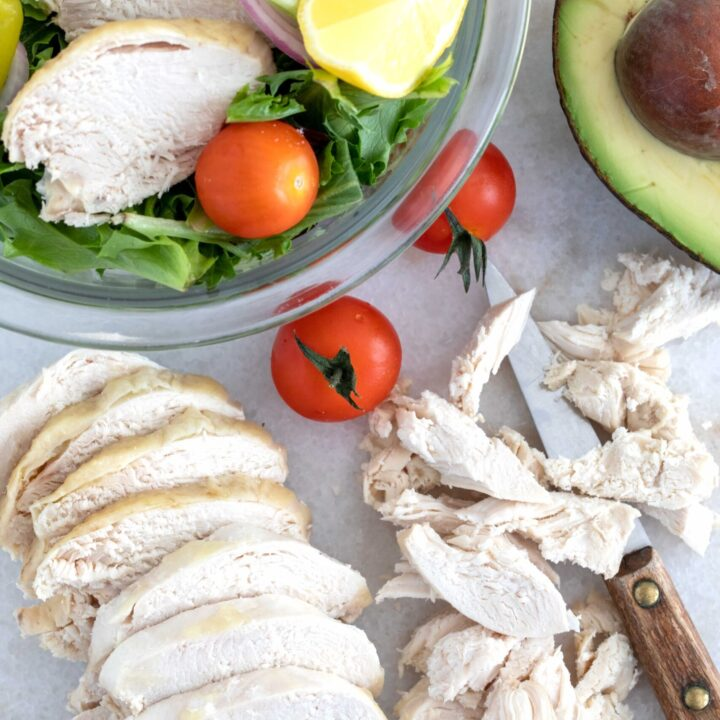 slices of poached chicken breast