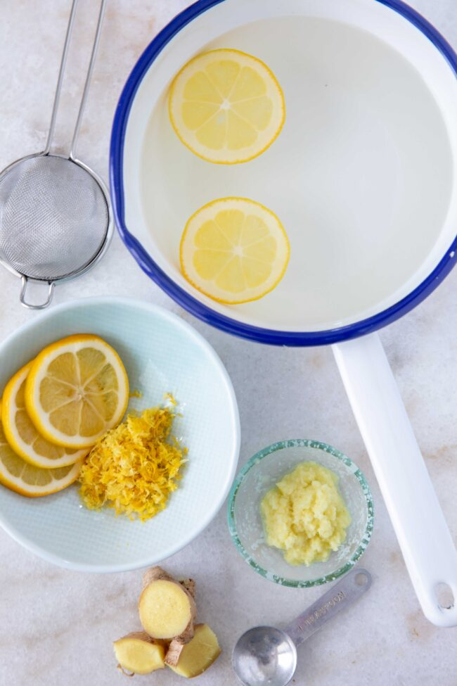 pot of water with lemons - drinks to boost immune system