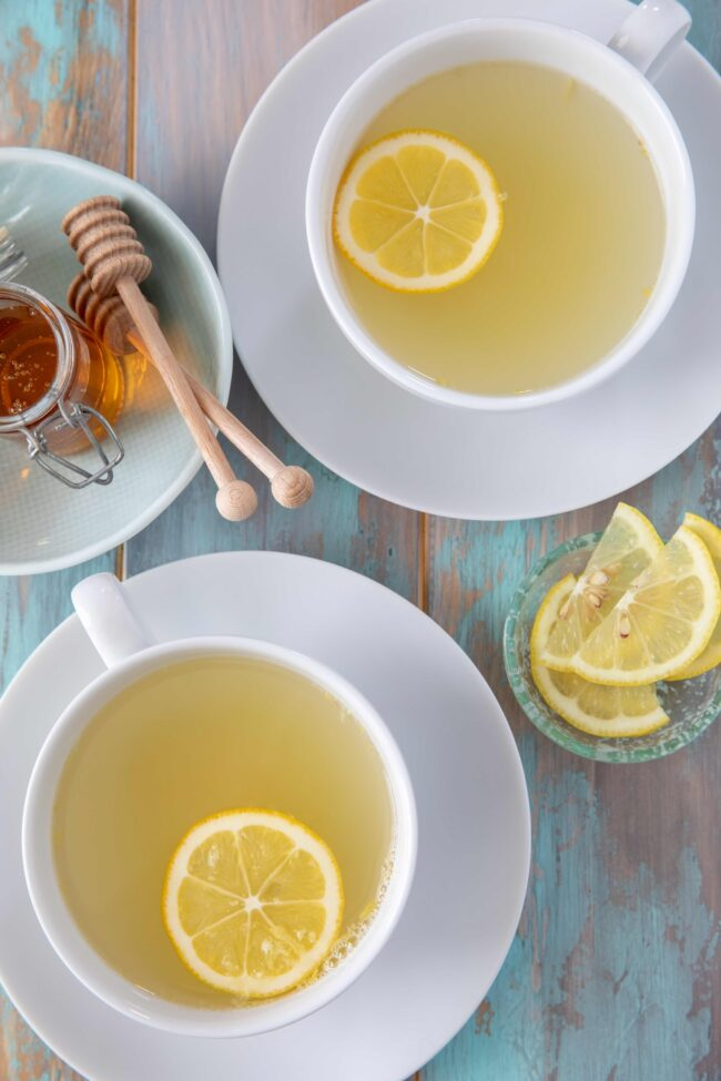 cups of lemon and ginger tea - drinks to boost immune system