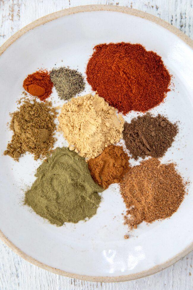 plate of different seasonings
