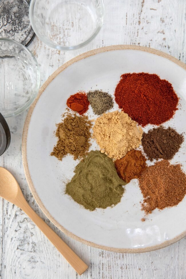 plate of different spices for Shawarma spice blend
