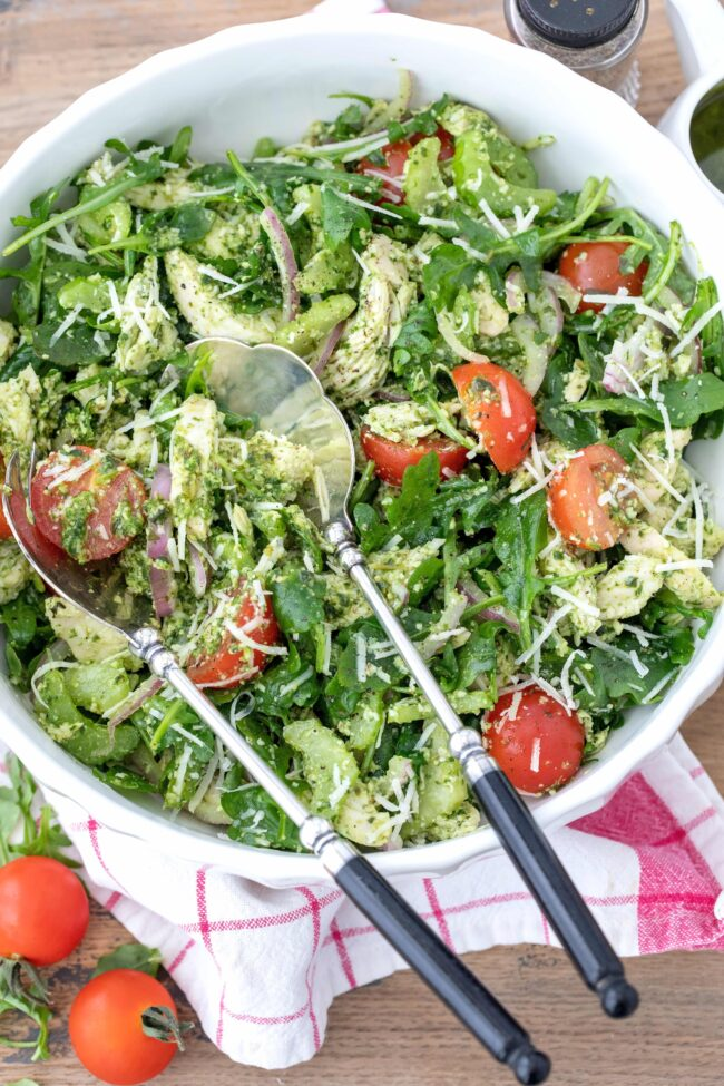bowl of chicken arugula salad