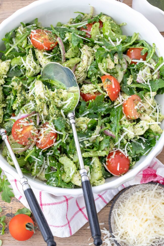 bowl of basil pesto chicken salad