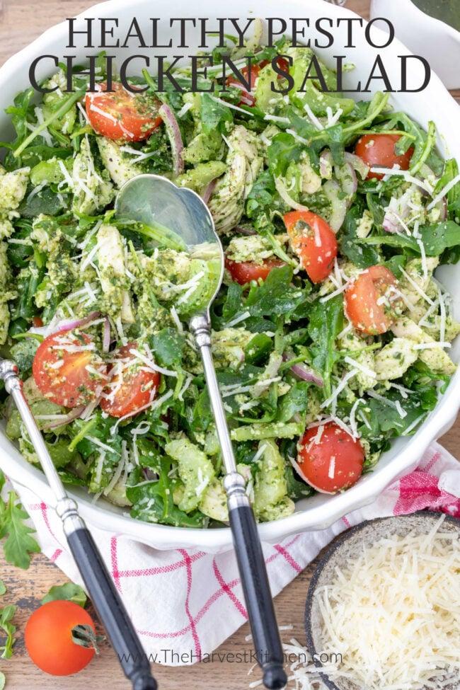 bowl of basil pesto chicken and arugula