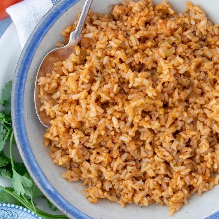 bowl of Spanish brown rice