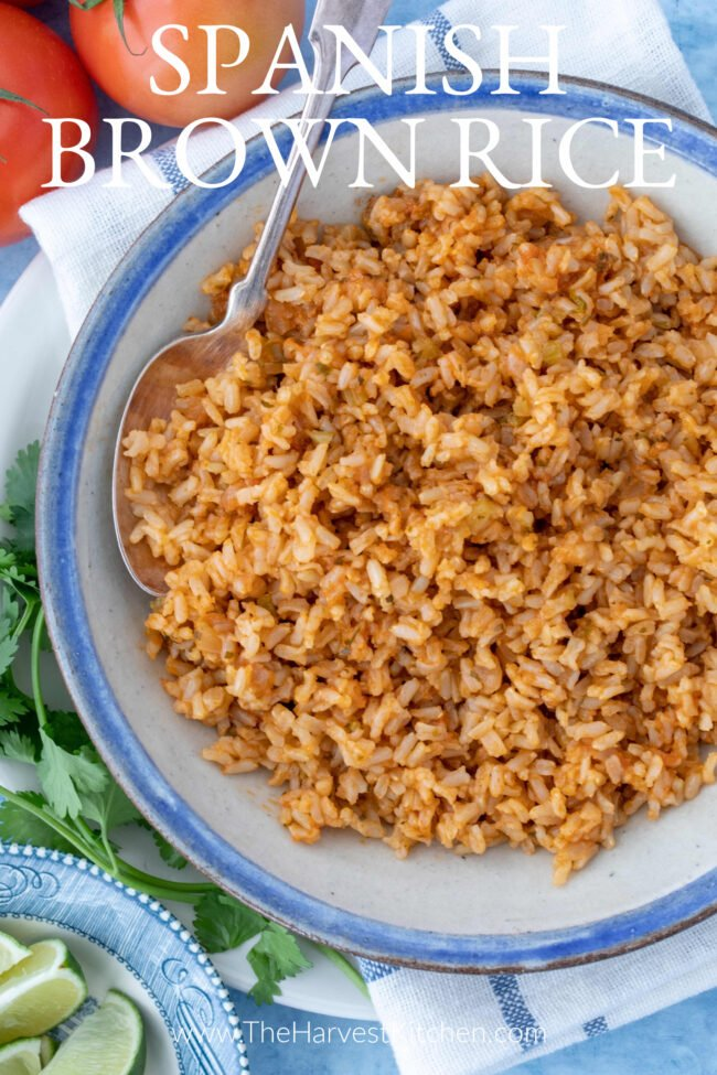 bowl of cooked long grain brown rice - Mexican side dishes