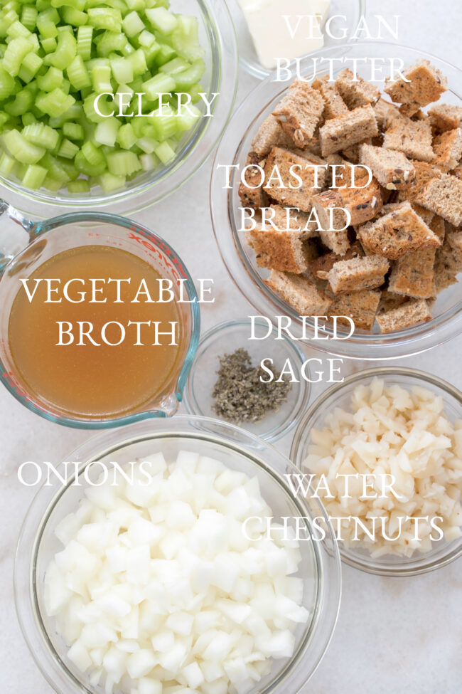 bowls of bread stuffing ingredients
