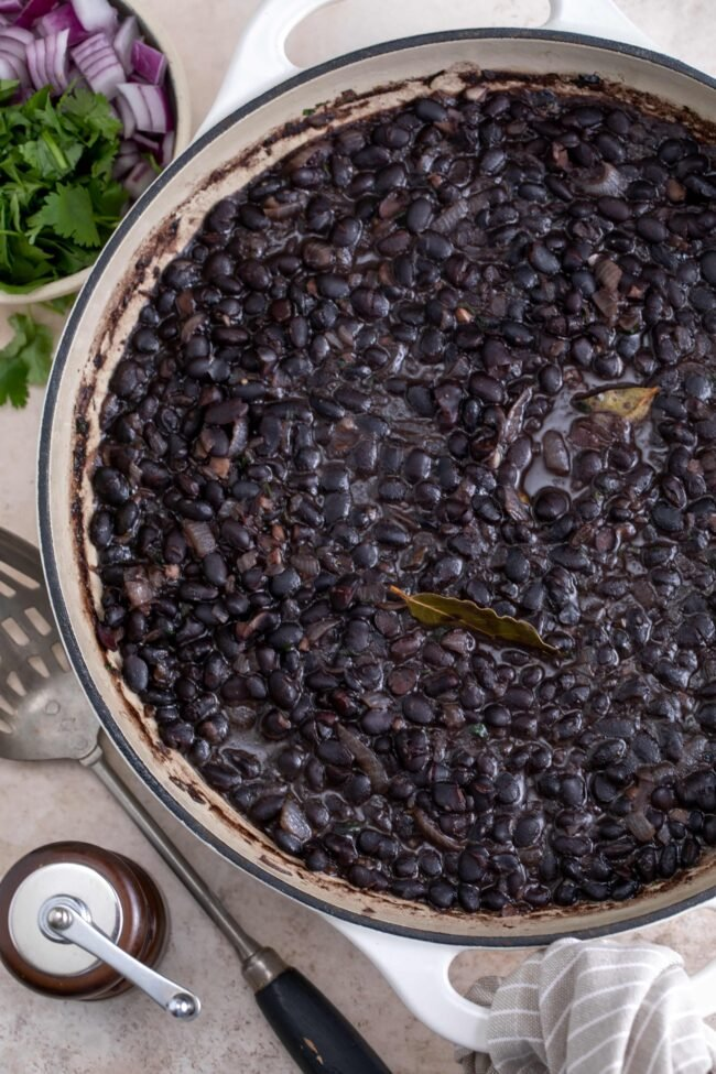 pan of cooked black beans