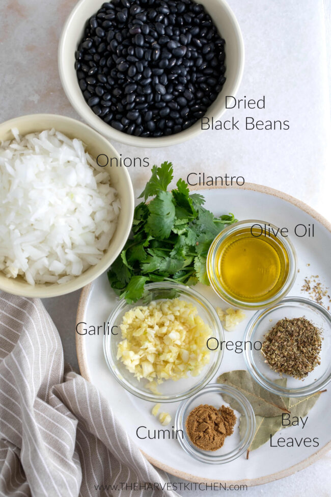 ingredients for Cuban black beans