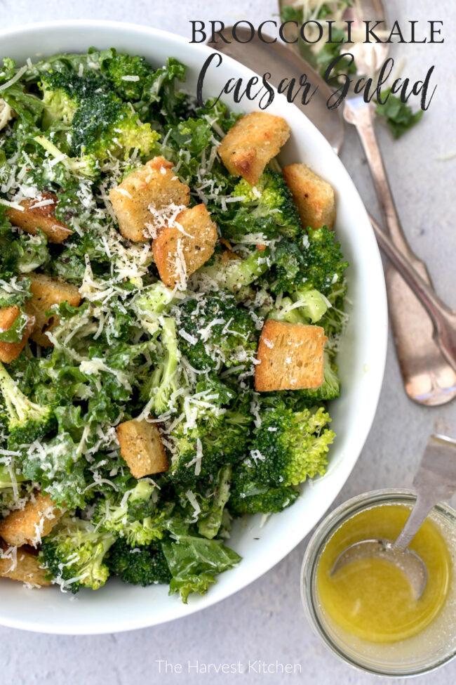 bowl of broccoli and kale salad