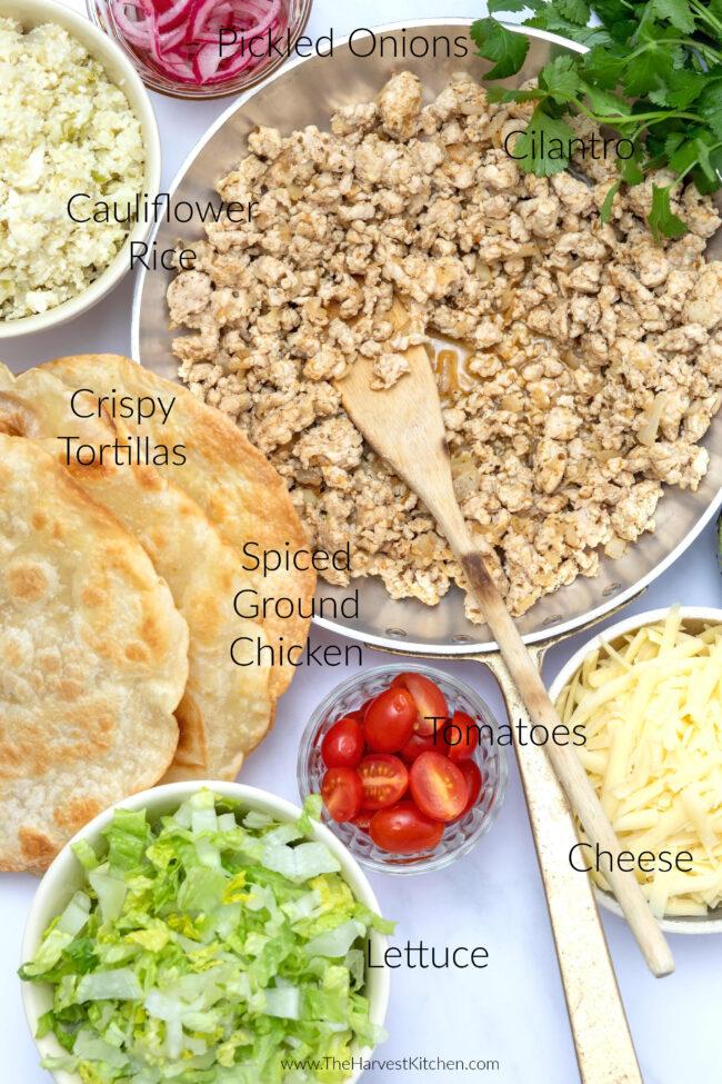 ground chicken for tostadas (tostadas de pollo)