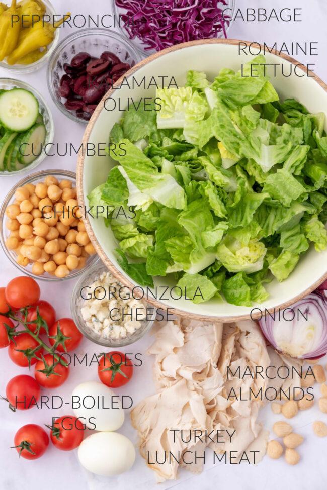 bowls of chef salad ingredients