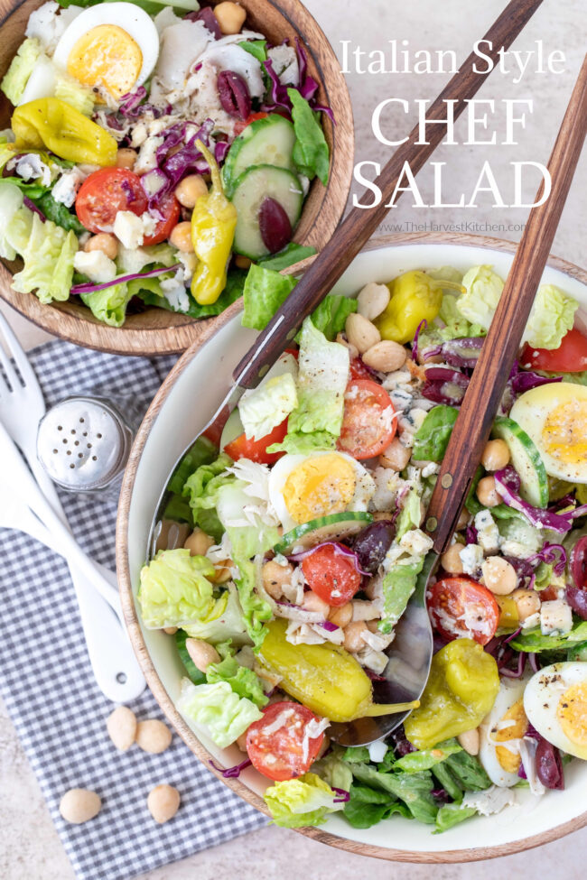 bowls of salad from healthy salad recipes tossed in gorgonzola dressing
