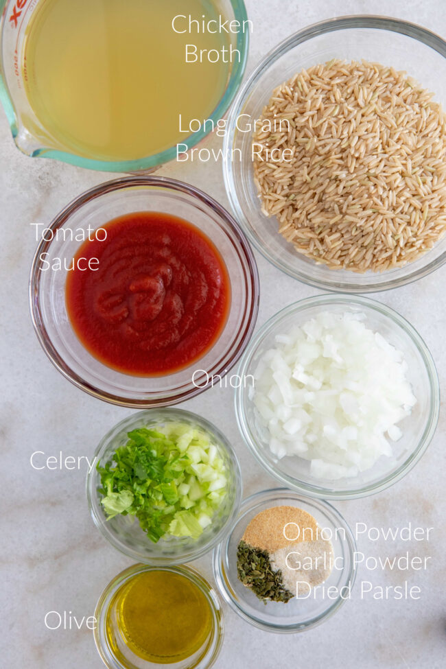 Spanish brown rice ingredients for chicken and rice soup