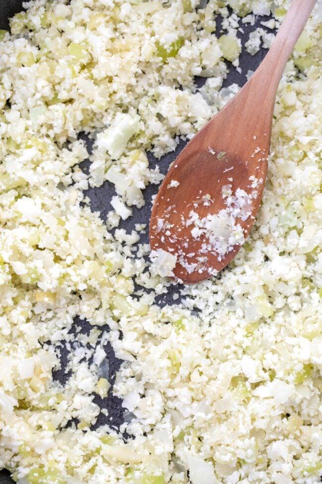 pan of riced cauliflower